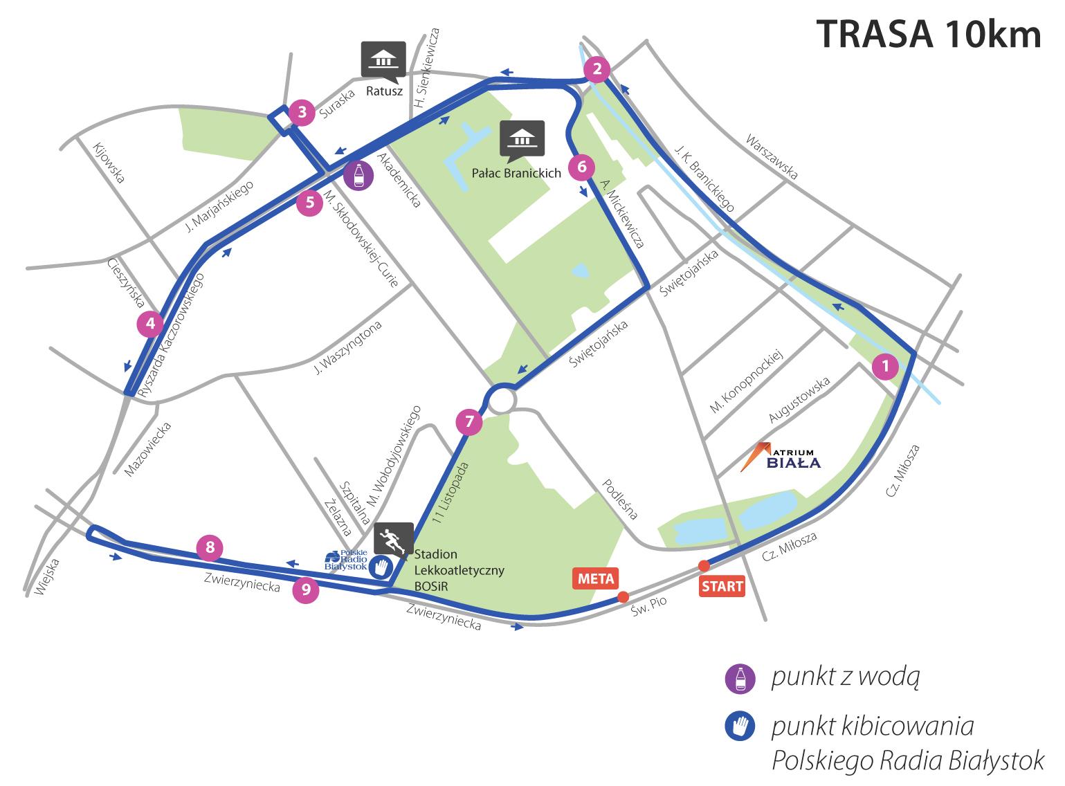 Trasa - dystans 10 km